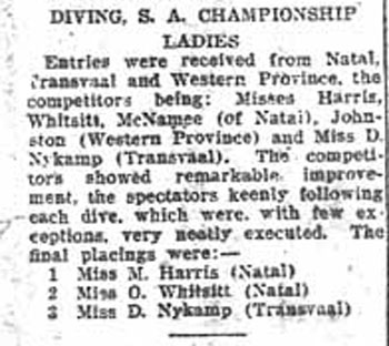 1926 Ladies diving results